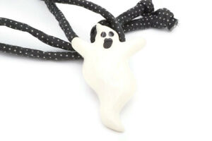 Vintage Flying Colors Holiday Halloween Spooky Ghost Ceramic Pendant Necklace