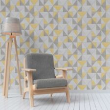 Grey and Yellow Triangles Wallpaper with Wood Grain Effect Fine Decor FD42223