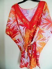 Femme Multicolore Imprimé Caftan Tunique Kimono Haut Chemisier L XL
