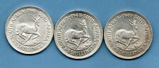 1947 1948 1949 SOUTH AFRICA SILVER CROWN COINS. 3 X FIVE SHILLINGS. JOB LOT.