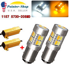 2x White/Amber Switchback 1157 7528 20-SMD LED Light Bulbs Turn Signal+Resistors