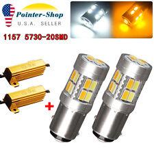 2x White/Amber Switchback 1157 7528 20-SMD Tail Stop LED Light Bulbs +Resistors