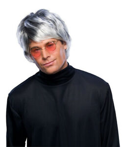 Mens Adult Silver Grey POP STAR WIG Costume Accessory
