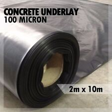 2m x 10m Concrete Underlay Black Plastic Sheeting 100 micron MEDIUM DUTY