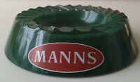 Pub Barware - MANNS BREWERY - Green Glass Ashtray Home Bar - Vintage Breweriana