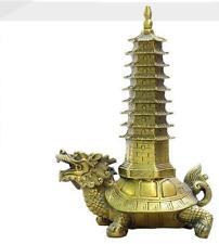 Collection Buddhism Dragon Tortoise Tower Brass Stupa Pagoda Statue
