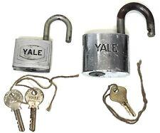 Vintage Yale Padlock Set Of 2 Working with Original Keys Made in USA