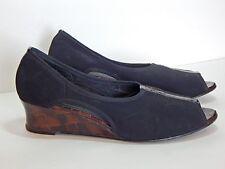 Vaneli Wedge Shoes 11M Peep Toe Pumps Black Medium Heels Van Eli
