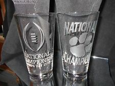 2017 COLLEGE FOOTBALL PLAYOFF CHAMPIONS CLEMSON TIGERS ETCHED 2 PINT GLASSES