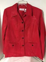 Alfred Dunner Women's Jacket Faux Red Suede Black Accent Stiching Lined Size 12