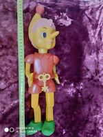 VINTAGE  1970s USSR Russian Soviet Plastic LARGE Size Toy Doll BURATINO with Key