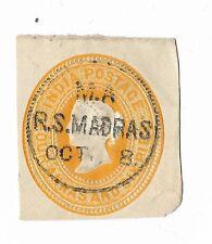 19TH CENTURY INDIA EMBOSSED STAMP FOUR ANNAS & SIX PIES STAMP / MADRAS CANCEL