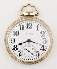 Illinois 60 hour Bunn Special 21 Jewel railroad pocket watch @ 1920s GF 14K case