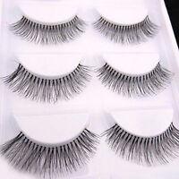 Natural 5 Pairs Long False Eye Lashes Sparse Cross Extension Makeup Eyelashes