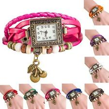 1PC Stylish Quartz Weave Around Leather Cherry Bracelet Lady Woman Wrist Watch
