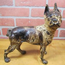 Antique Cast Iron Boston Terrier Doorstop Brown & Cream Figural Dog Statue