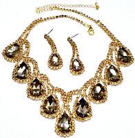 Rhinestone Austrian Crystal Choker Necklace Earring Topaz