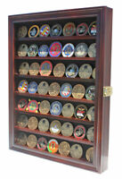 LOCKABLE Challenge Coin Display Case Casino Chip Shadow Box Cabinet Mahogany