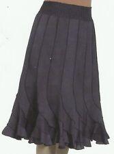 Nwt GRACE ELEMENTS elastc waist navy blue panel flared frilly cotton SKIRT XXL