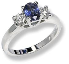 Women's Oval Sapphire Diamond Ring 14k White Gold 1.10 ctw