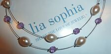 "Lavender/Pearl Necklace - 2008 New Lia Sophia ""Bittersweet"" 2-Strand"