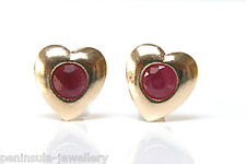 9ct Gold Ruby Heart Stud earrings, Gift Boxed studs Made in UK Xmas Christmas