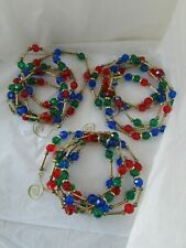 Plastic Clear Red Blue Green Gold Long Beads Beaded Christmas Garland Lot