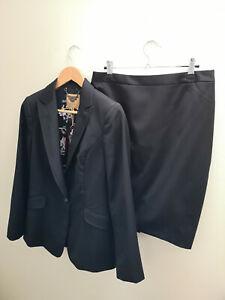 TED BAKER black tailored suit blazer dress jacket & skirt bird print work 3 12 M