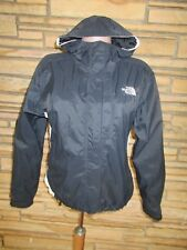 North Face Sz M Hoodie Jacket Black W/White Trim Three Front Pockets Windbreaker