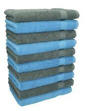 Betz lot de 10 serviettes débarbouillettes Premium: bleu clair & gris anthracite