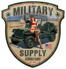 HOT ROD Military Jeep Pin Up Girl Metal Sign MAN CAVE BODY SHOP GARAGE HB231