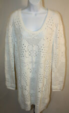 Somedays Lovin Womens Ladies White Long Sleeve Knit Sweater Dress Size M New