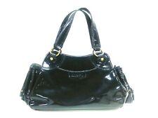Auth ANNA SUI Black Purple Beige Patent Leather Shoulder Bag