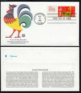 1992 Year of the Rooster Sc 2720 Chinese New Year FDC Fleetwood premium cachet