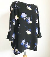 Ladies M&S Black Blue Bold Floral Flower print top. Plus size 18. New with tags.