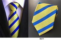 Tie Yellow Blue Mens Stripe Patterned Handmade 100% Silk Wedding Club Necktie