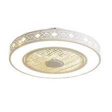22'' Round Ceiling Fan Chandelier Light Diamond Style Fan Lamp Invisible Blades
