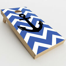 Skin Decal for Cornhole Game Board (2xpcs.) / Blue Chevron Black Anchor