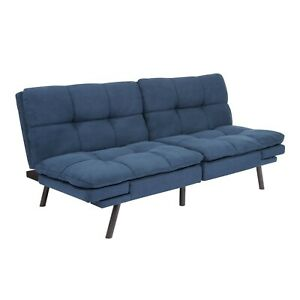 Memory Foam Blue Futon Sofa Bed Couch Sleeper Convertible Foldable Loveseat