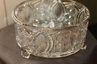 Vintage Cut Glass Round Bowl/Candy Dish Beautiful Design 3 Footed