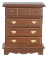 Dolls House Walnut Chest of Drawers Miniature Bedroom Furniture 1:12 Scale