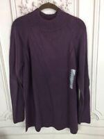 NEW Jeanne Pierre Womens M Sweater Plum Dahlia 552 Cotton Long Sleeve Crew Neck