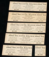RARE! (Lot of 5) 1913 Ascot Park Auto Races, Full Tickets, Los Angeles