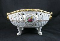 Von Schierholz Dresden Style Footed Center Piece Fruit Bowl Reticulated 11""