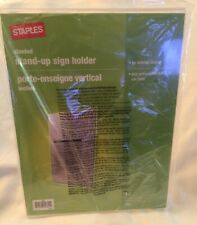 """Staples (2) Clear Acrylic Tabletop Slanted Stand-Up Sign Holders- 8.5"""" x 11""""-New"""