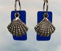 Sea Beach Glass Blue Dangle Earrings Sea Shell Surgical Steel Ear Wire Scallop