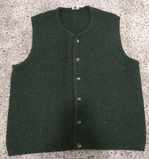 Mens Reine Schurwolle Green Sweater Vest Pure Wool Size M