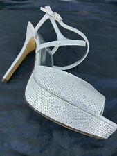 The Touch of Nina 9.5M silver sparkle 5  inch heel 1 inch platform