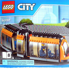 Lego Orange Tram Train w Driver mini-Figure (City Square Train 60097 B8) New