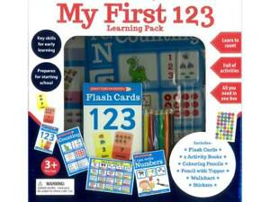 New MY FIRST 123 LEARNING PACK Flash Cards Educational activity books Stickers